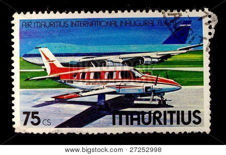 MAURITIUS - CIRCA 1980s: A stamp printed in MAURITIUS  shows passenger aircraft Convair CV 340, circa 1980s.