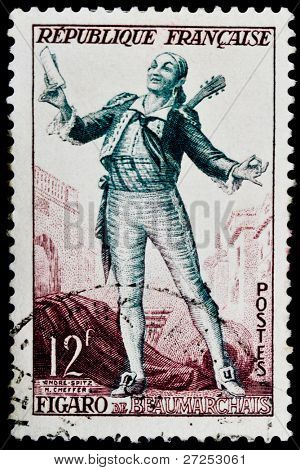 FRANCE - CIRCA 1950s: a stamp printed in France shows image of Figaro, the literary character created by Jean Baptiste Moliere. France, circa 1950s