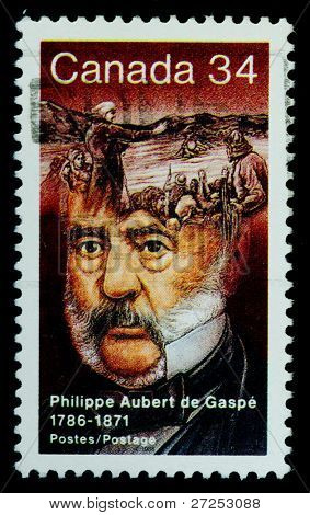 CANADA - CIRCA 1986: stamp printed by Canada, shows a French Canadian writer and seigneur, circa 1986