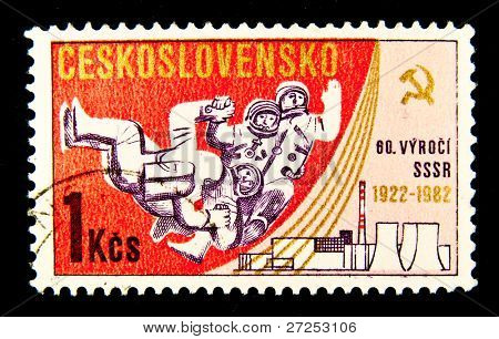CZECHOSLOVAKIA - CIRCA 1982: a stamp printed by Czechoslovakia shows the first cosmonaut Jury Gagarin, circa 1982. Space Series