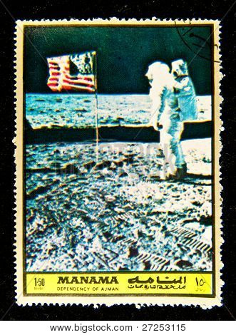 MANAMA - CIRCA 1970s: A post stamp printed in Manama shows a Neil Alden Armstrong  an American aviator and a former astronaut, test pilot, aerospace engineer. Circa 1970s. Space Series