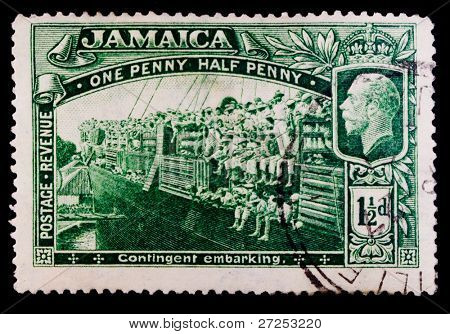 JAMAICA - CIRCA 1927: A stamp printed in Jamaica shows Contingent embarking, series, circa 1927