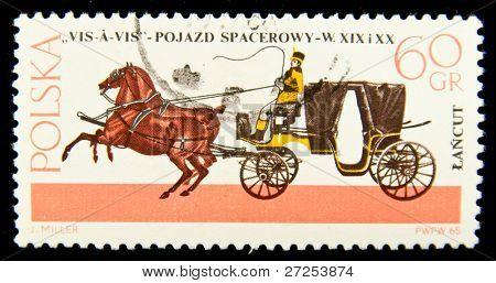 POLAND - CIRCA 1967: a stamp printed in Poland showÑ? antique horse carriage and a coachman, circa 1967