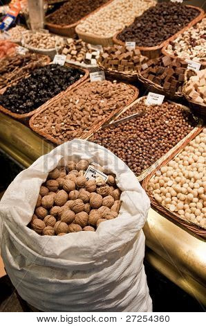 Nuts on the old bazaar in Barcelona, Spain