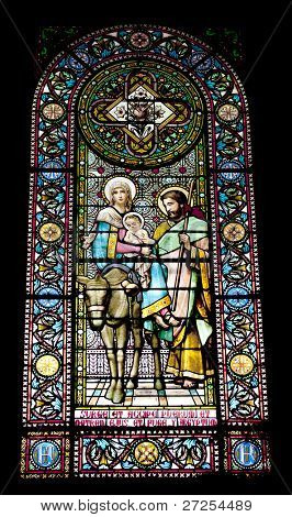 Stained-glass window in Montserrat Monastery (founded in 1025)