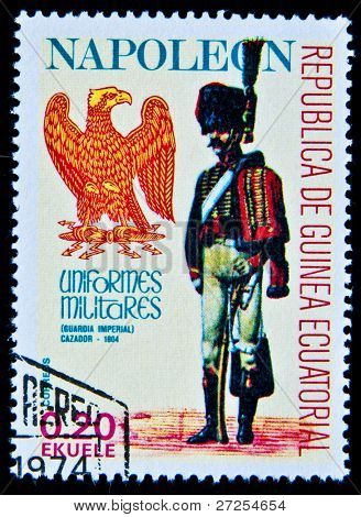 EQUATORIAL GUINEA - CIRCA 1974: A stamp printed in Equatorial Guinea shows soldiers of the Imperial Guard of Napoleon in uniform, circa 1974