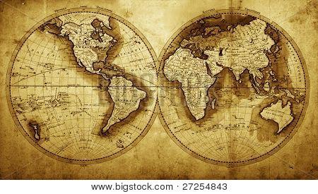 antike Karte der Welt (ca. 1711 Jahr)