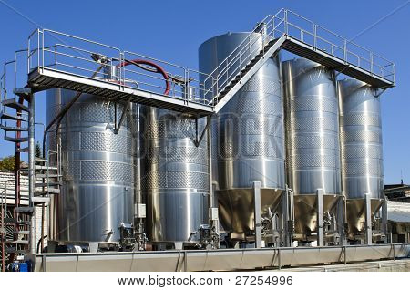 Manufacture of wine (series). Modern cistern for wine storage