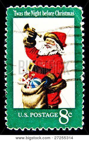 USA - CIRCA 1972: The first U.S. Christmas postage stamp to show Santa Claus; Twas the Night before Christmas. Design by Stevan Dohanos. circa 1972