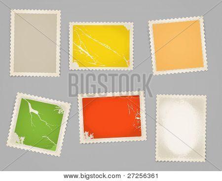 Vintage color post stamps template clip-art