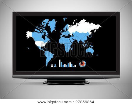 Modern TV with Earth map and statistics