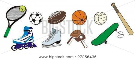 Set of sport inventory. This pictures are  easy to edit and to change colors of vector parts.