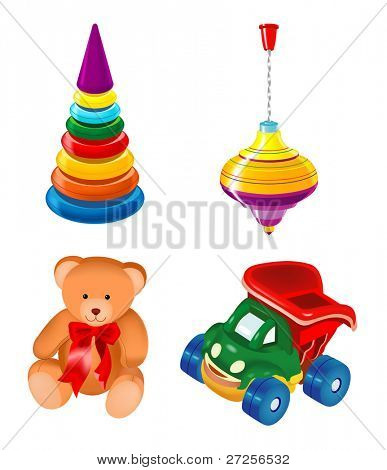 toys kid teddy bear car vector cartoon child icon
