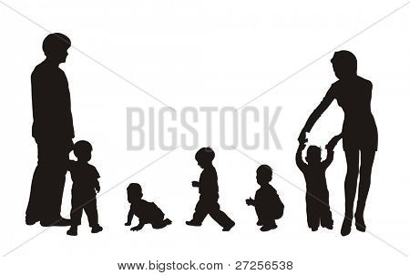 beautiful silhouettes of family and children
