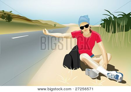 vector girl hitch-hiking
