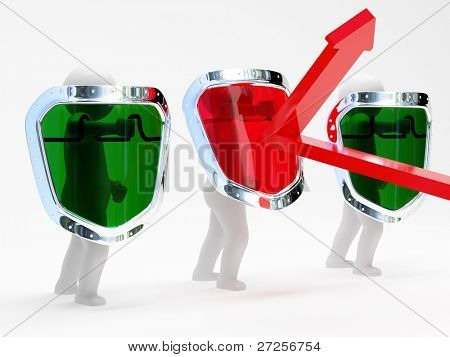 3d abstract security persons with shields isolated on white background