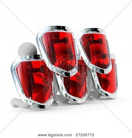 3d abstract security team with shields isolated on white background