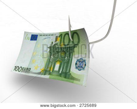 Hundred Euro On Fishing Hook. 3D
