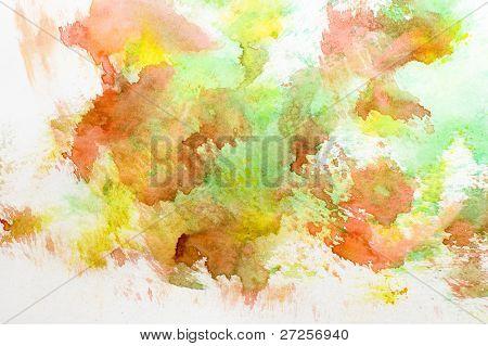 gelben, roten und grünen Aquarell Hintergrund