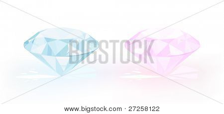 vector diamonds  pastel blue and pastel pink on white background