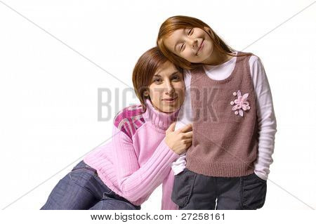mother with her little adorable daughter isolated on white background