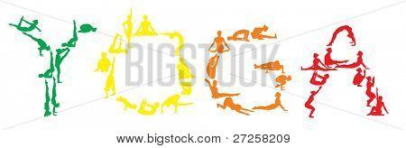 yoga vector color silhouettes of young attractive yogi girl