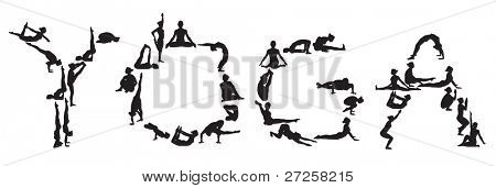 yoga vector silhouettes of young attractive yogi girl