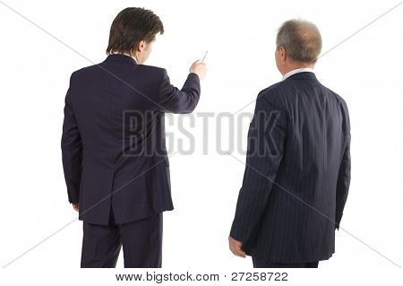 business man show on blank cardboard isolated on white background