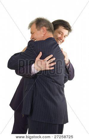 homens de negócio bem sucedido abraçando feliz isolado no branco fundo