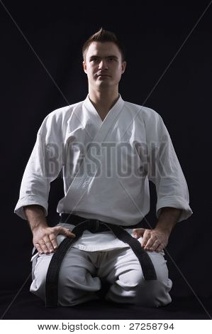karate man on black background studio shot