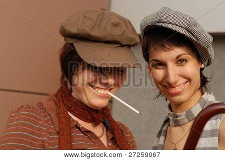 female happy couple portrait outdoor retro style