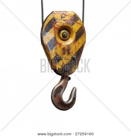 old lifting hook isolated white background