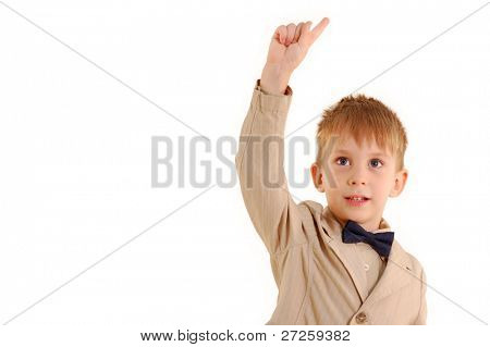 boy has idea isolated on white background