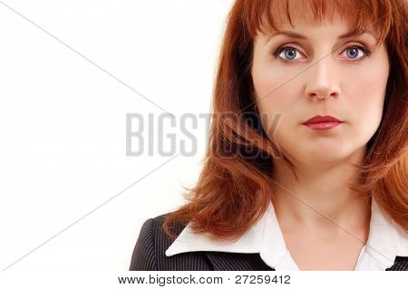attractive businesswoman mid adult isolated on white background