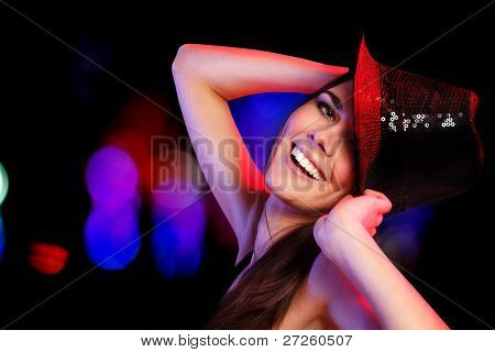 dancing party girl happy young attractive in nightclub