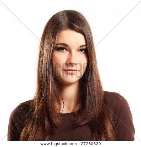 teen girl makes a grimace consternation isolated on white background