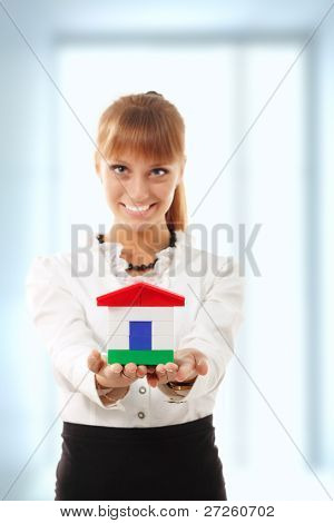 businesswoman is showing realestate