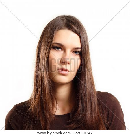 teen girl makes a grimace displeased isolated on white background