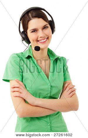 Support phone operator cheerful in headset isolated on white background