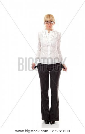 business woman showing empty pockets  isolated on white background
