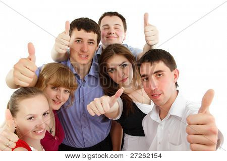 thumbs up students group happy isolated on white background