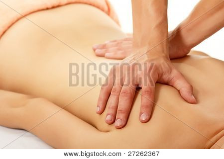 massage woman young beautiful isolated on white background
