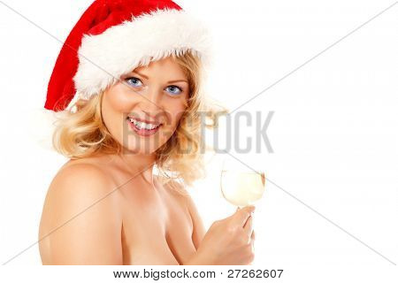 christmas woman beautiful smiling with glass of champagne santa's hat isolated on white background