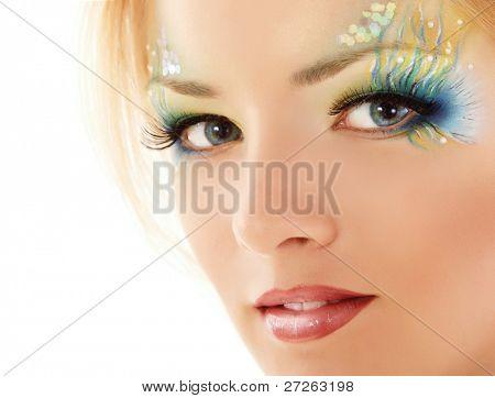teen girl make-up mermaid beautiful isolated on white background
