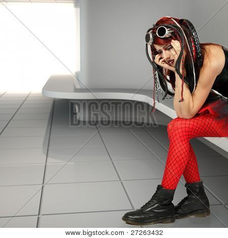 depression teen girl informal cyber punk cried lonely in empty room