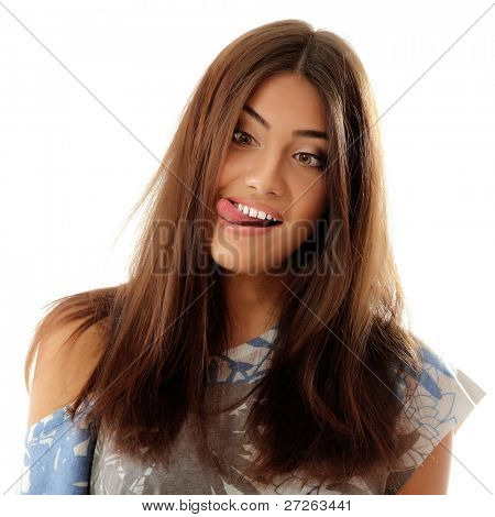 teen girl make crazy funny faces isolated on white background