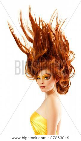 fire teenager girl beautiful red hair cheerful enjoying