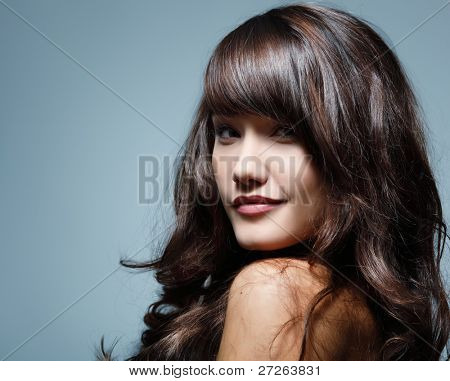 teenager girl beautiful hair cheerful enjoying isolated