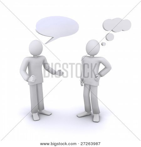 3d humans communication, empty chat bubbles