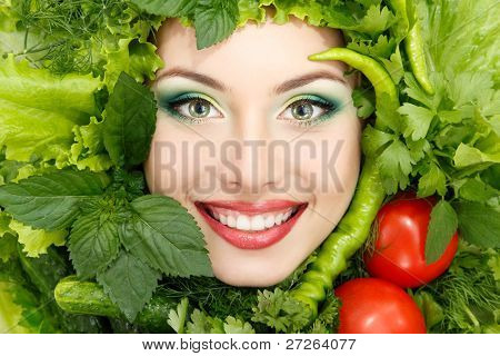greens vegetables frame woman beauty face isolated on white background